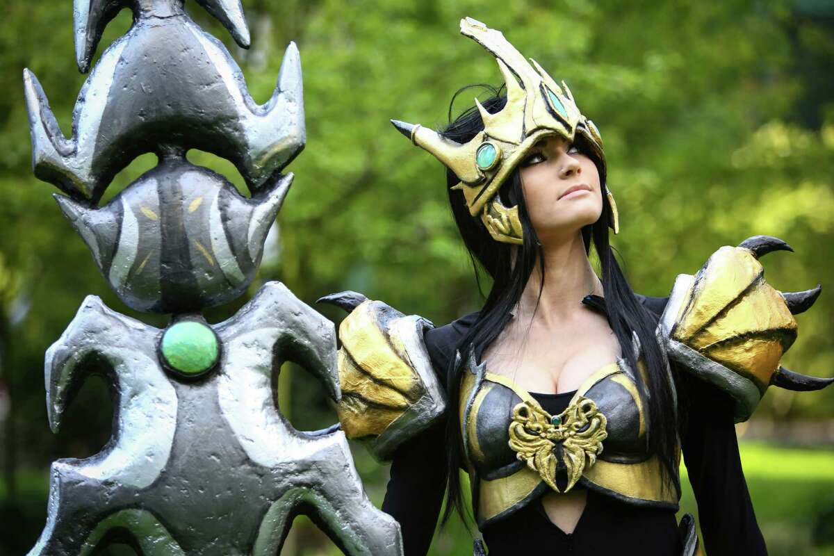 Alexis McNulty of Vancouver, B.C.. wears a Jarvan, League of Legends costume during the first day of Sakura-Con.