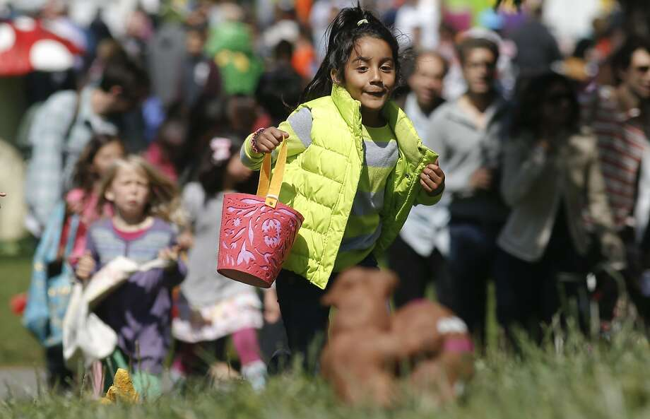 Cienna Lujano, 5, of San Francisco searches for Easter eggs in Golden Gate Park's Sharon Meadow during the Recreation and Park  Department's fifth annual Eggstravaganza, which offered fun for both children and adults. Photo: Michael Macor, The Chronicle
