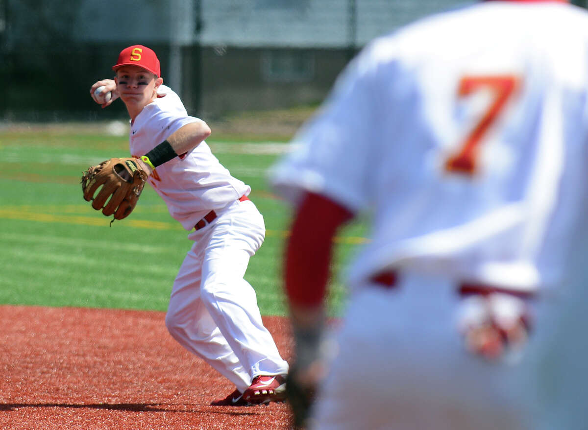 Stratford second baseman John Lagerfeldt, during baseball action against Notre Dame of Fairfield at Penders Field in Stratford, Conn. on Saturday April 19, 2014.