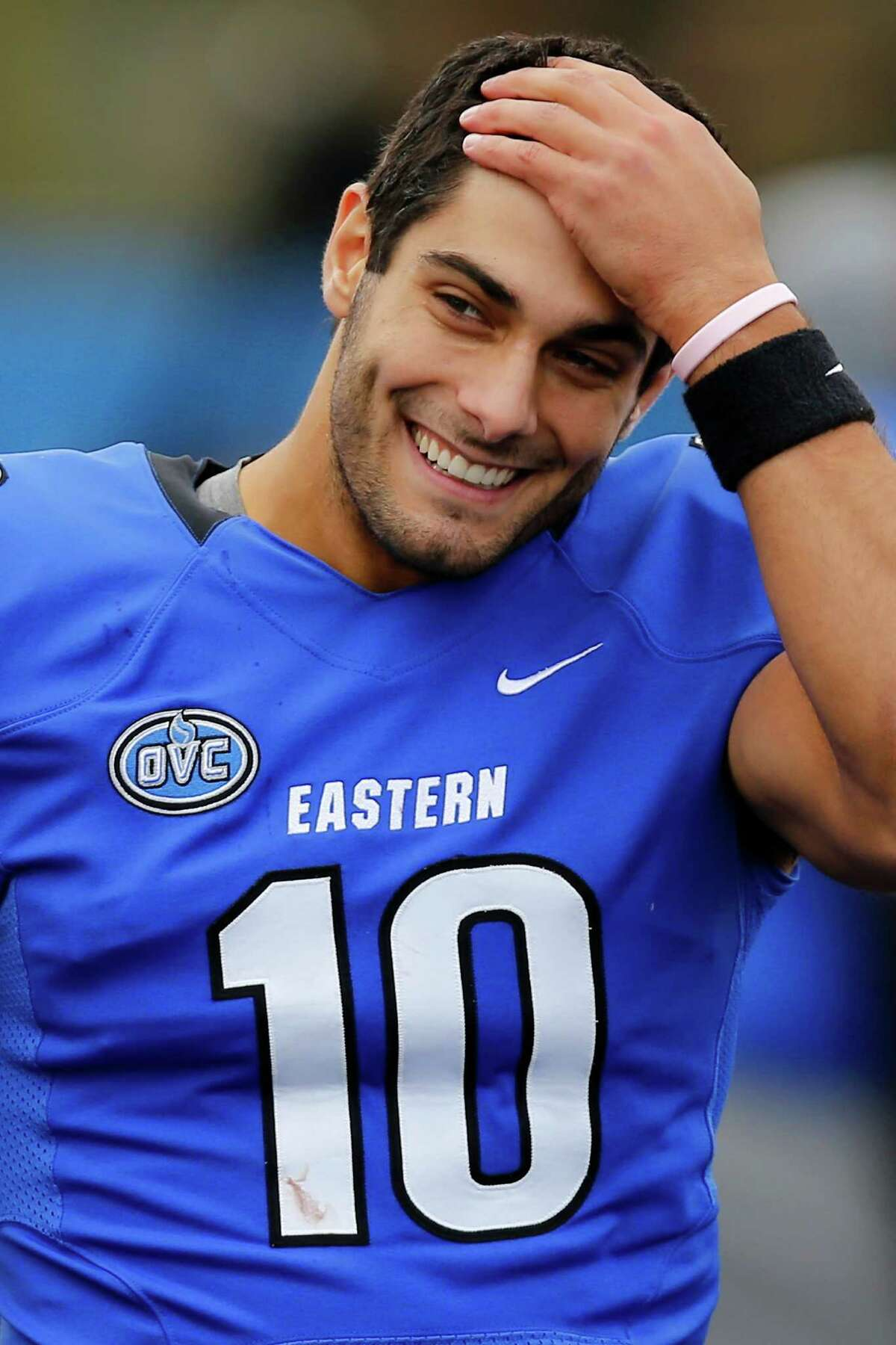 Where is he from? Jimmy G was born and raised in Arlington Heights, a suburb of Chicago. He went to the local high school and attended Eastern Illinois University, where he played quarterback and shattered former Dallas Cowboy star Tony Romo's touchdown record at the school. Fittingly for a quarterback, he majored in management.