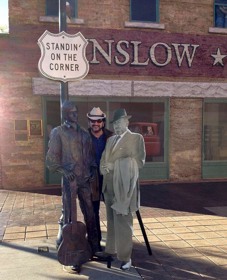 Artist Octavio Solis in Winslow, Ariz. on Route 66 during the Grapes of Wrath Journey. Photo: National Steinbeck Center