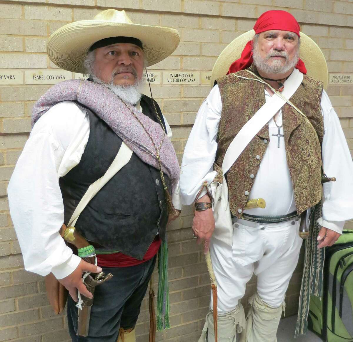 Retired steelworkers Tony Tristan and Jerry Tubbs are longtime San Jacinto Battle re-enactors.