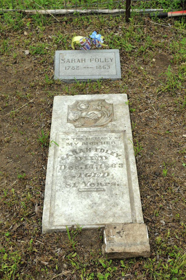The grave of Sarah Foley in the Foley Cemetery in Hallettsville. Photo: Jerry Baker, For The Chronicle