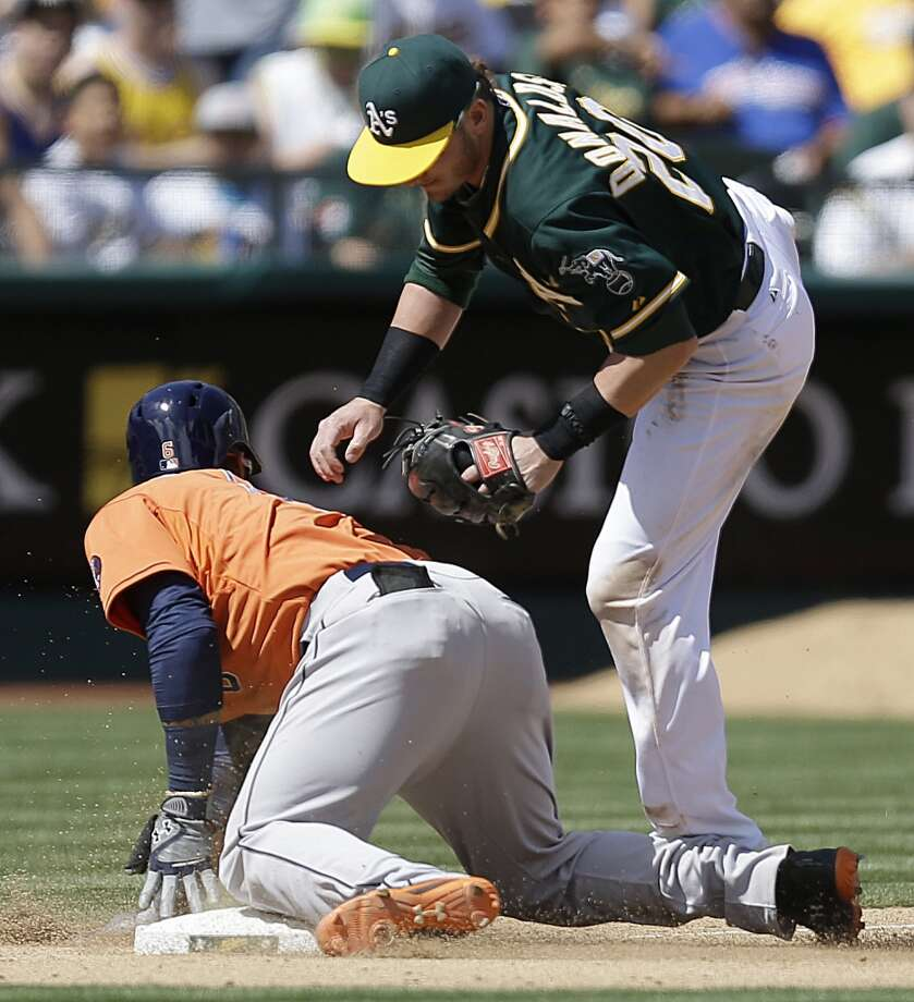 Jonathan Villar, left, steals third base. Photo: Ben Margot, Associated Press