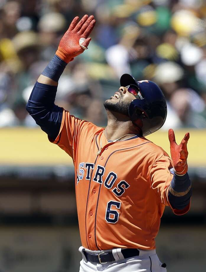 Jonathan Villar celebrates after hitting a home run. Photo: Ben Margot, Associated Press