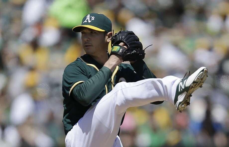 Athletics pitcher Scott Kazmir winds up. Photo: Ben Margot, Associated Press