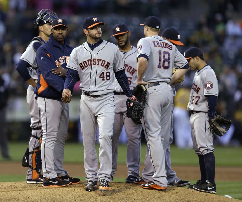 April 18: Athletics 11, Astros 3  Jarred Cosart (48) walks off the mound after being removed from the game in the first inning. Photo: Ben Margot, Associated Press