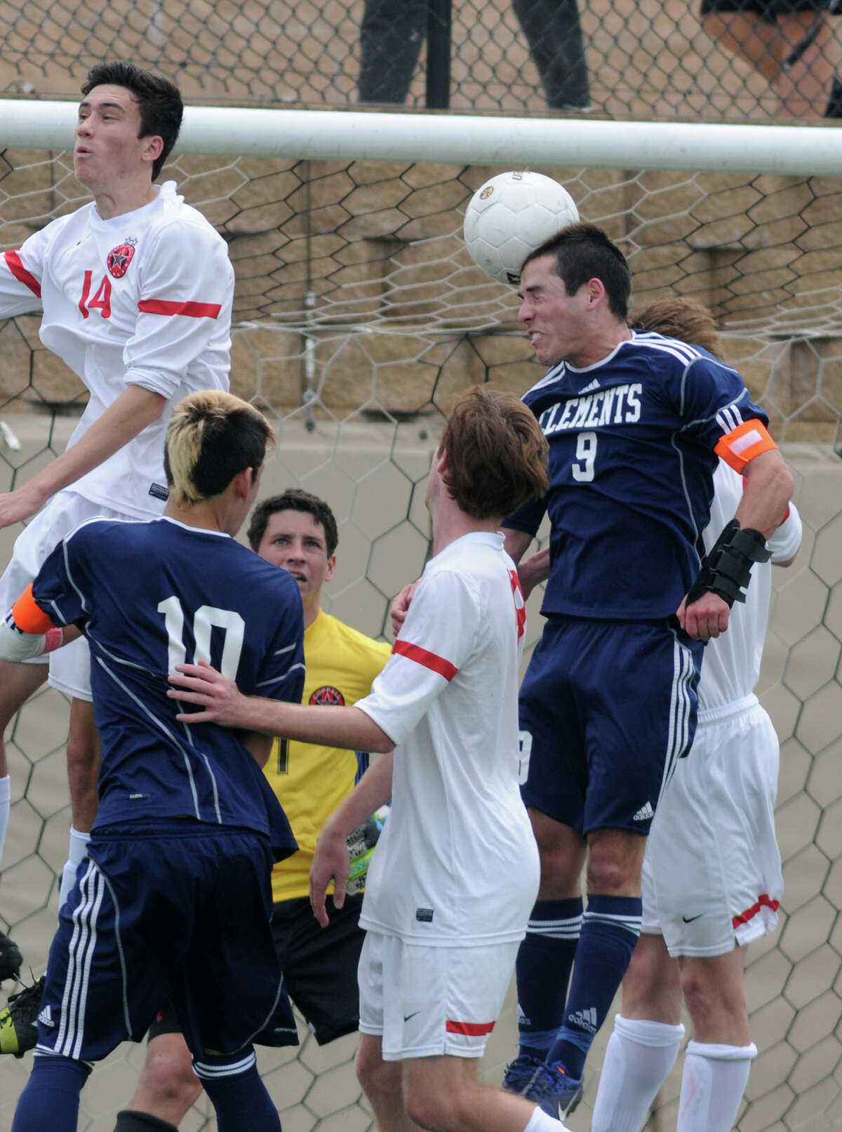 Clements senior midfielder Santiago Padruno (9) gives the Rangers the lead with his header in the 20th minute. Alejandro Saez and Trinidad Luna added goals in the second half for Clements in its 3-0 win over Coppell.