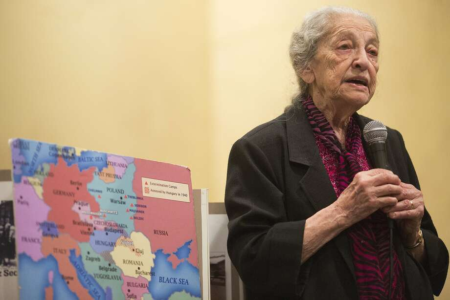 Holocaust survivor Dora Sorell gives a lecture at Ruth Asawa San Francisco School of the Arts. Photo: Stephen Lam, Special To The Chronicle