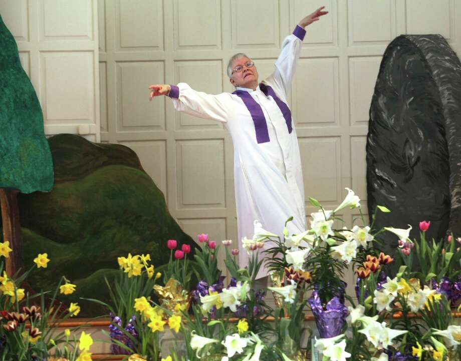 Carole Britting dances during the Easter Service at the First United Church of Christ Congregational in Milford on Sunday, April 20, 2014. Photo: BK Angeletti, B.K. Angeletti / Connecticut Post freelance B.K. Angeletti