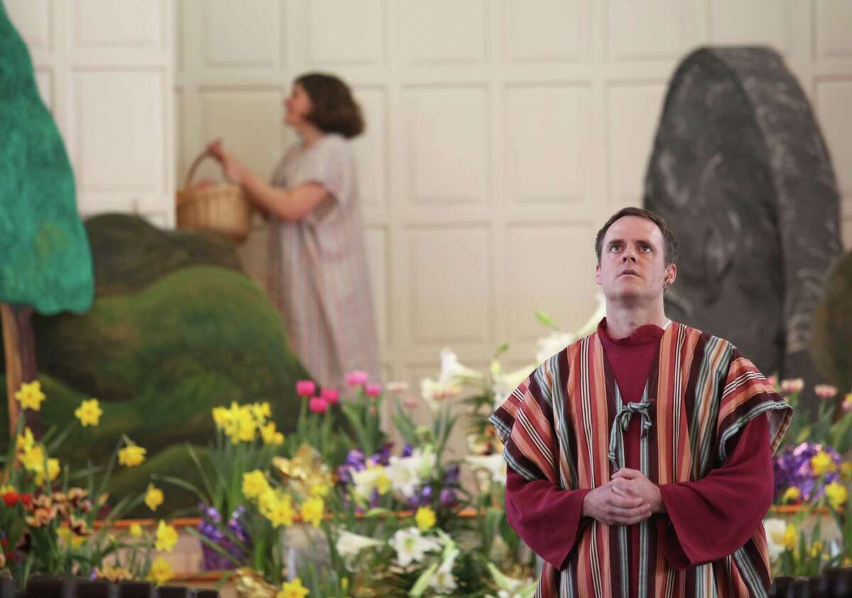The Rev. Adam E. Eckhart portrays Peter during the Easter Service at the First United Church of Christ Congregational in Milford on Sunday, April 20, 2014.