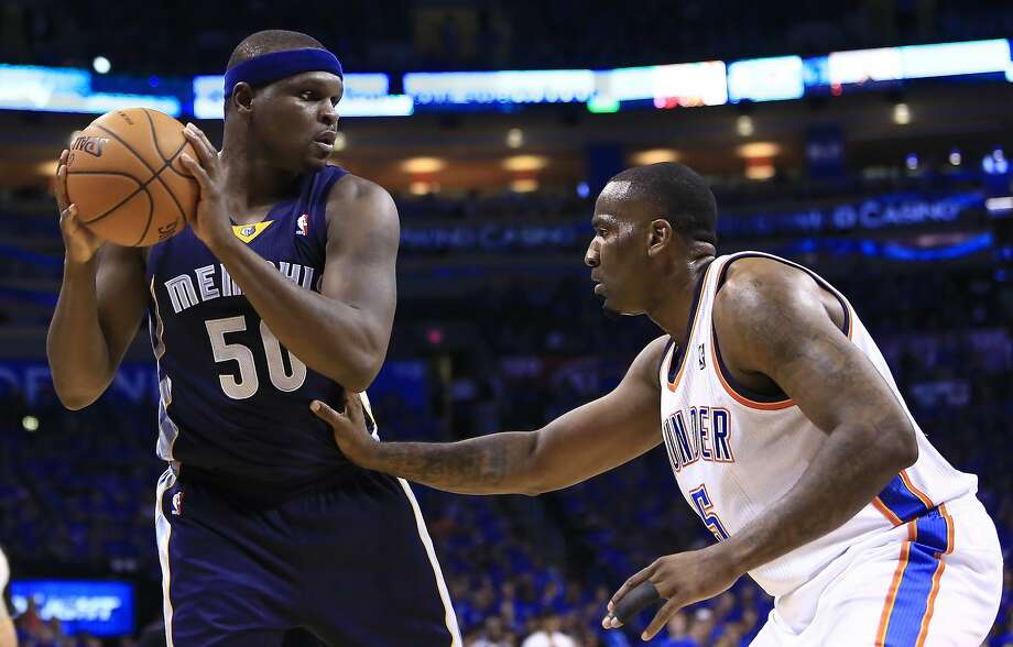 Zach Randolph (left), guarded by Kendrick Perkins in Game 1, says Memphis can win Game 2. Photo: Alonzo Adams, Associated Press