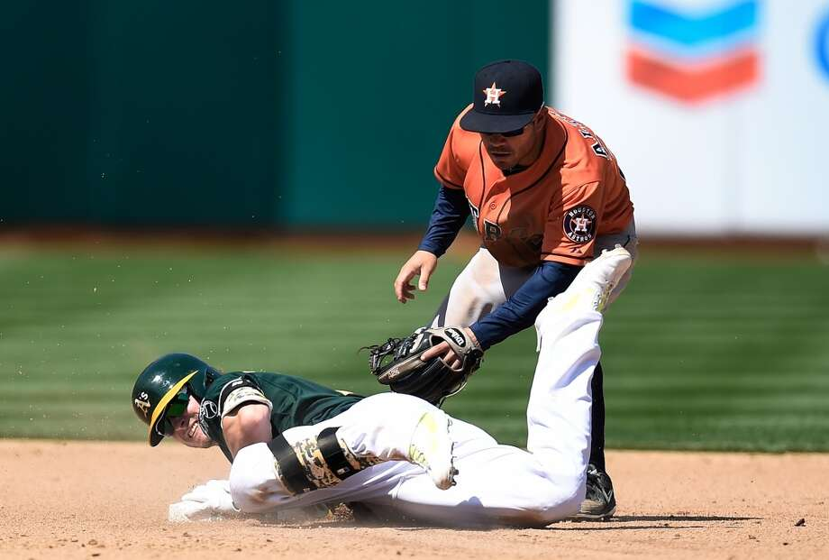 Josh Donaldson slides into second base with a double, beating the tag of Jose Altuve in the bottom of the fifth inning. Photo: Thearon W. Henderson, Getty Images