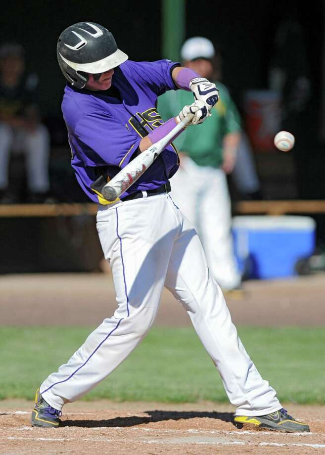 Voorheesville's Jared Paigo swings for the ball during the Class C state regional semi-final baseball game against Norwood-Norfolk on Monday, June 3, 2013 in Amsterdam, N.Y.  (Lori Van Buren / Times Union) Photo: Lori Van Buren / 00022669A