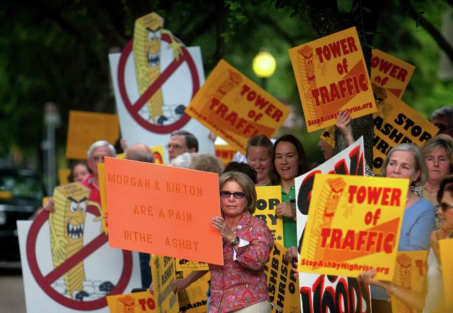 In May 2012, protesters rallied against the Ashby high-rise project. Years later, the quarrel continues. Photo: Cody Duty, Staff / © 2011 Houston Chronicle