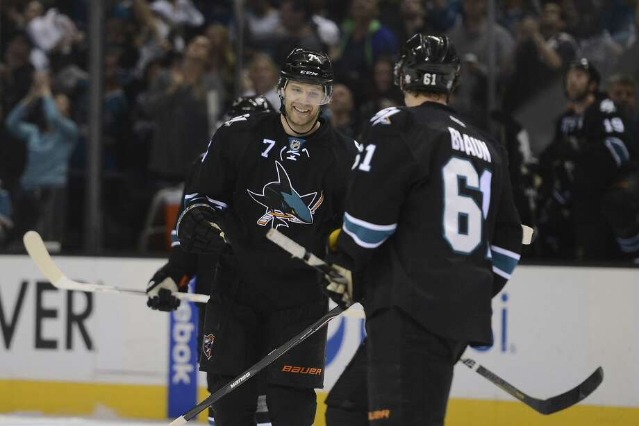 San Jose will get two future draft picks in exchange for Brad Stuart. Photo: Kyle Terada, Reuters