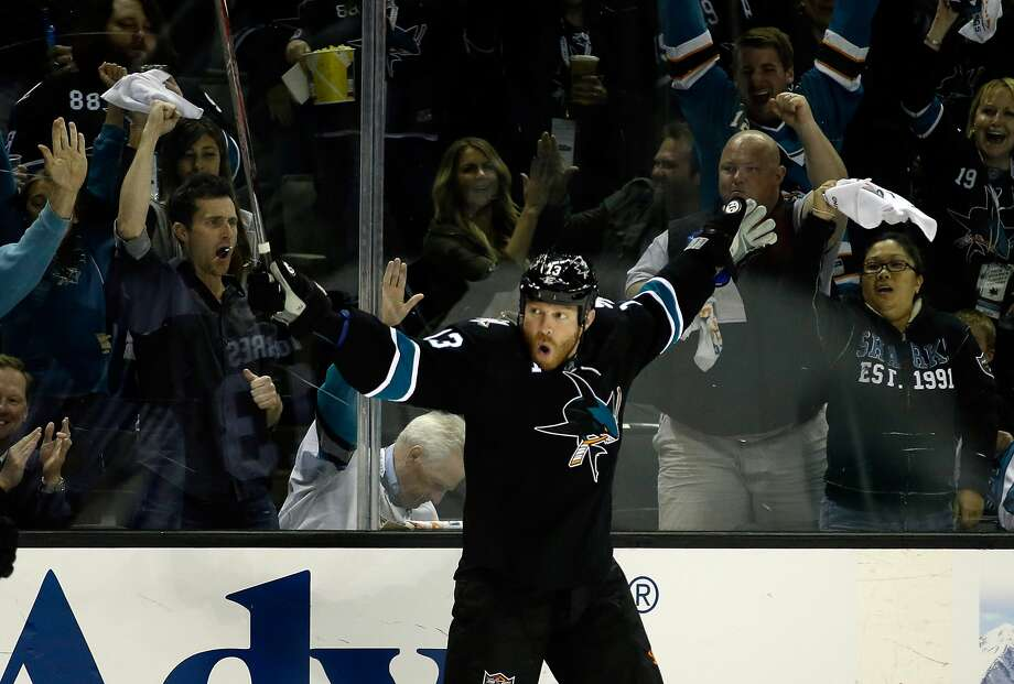 Raffi Torres, celebrating a goal in Game 2 of the 2014 first-round playoffs against the Kings, has been suspended for half of this season. Photo: Ezra Shaw, Getty Images