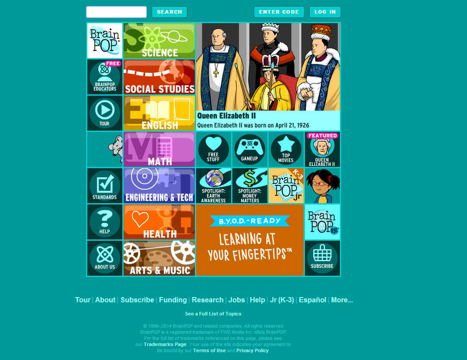 BrainPOP.com: A website filled with educational games covering everything from RNA and photosynthesis to geometry to art concepts. Photo: BrainPOP.com