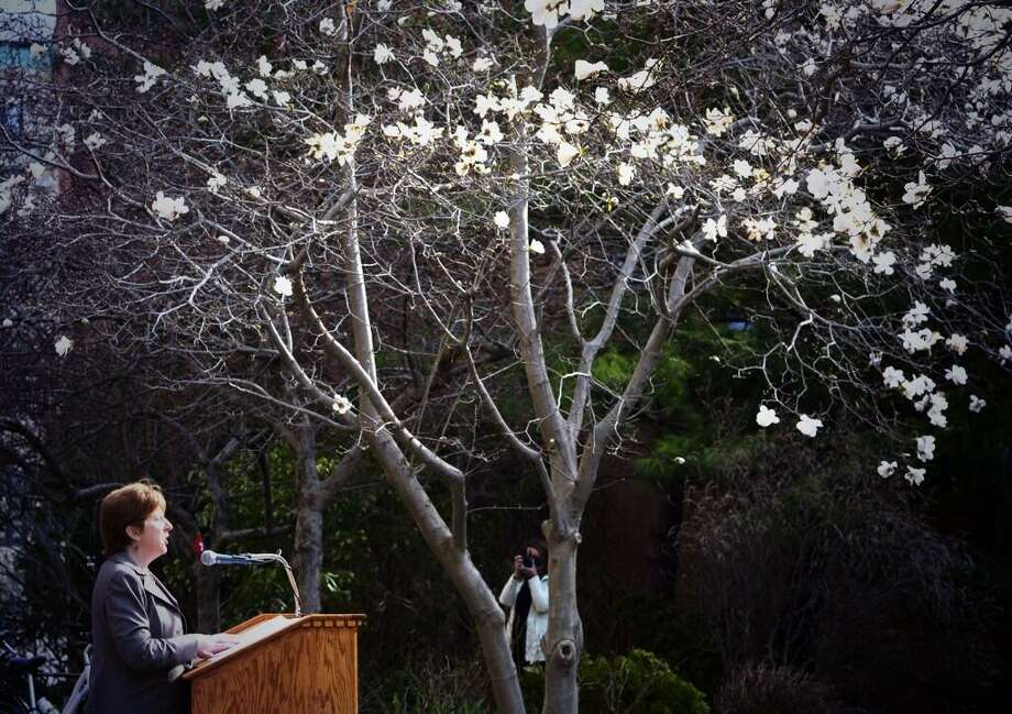 Among blossoming trees, Albany Mayor Kathy Sheehan kicks of the start of Earth Week, an effort by local officials to draw attention to Earth Day and Arbor Day. (Skip Dickstein / Times Union)