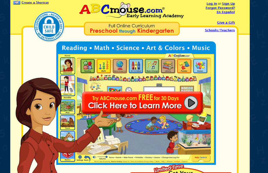 ABCmouse.com: Geared toward kids as young as three, this website teaches reading, math, and more using puzzles, games, songs, books, and art.  Photo: ABCmouse.com