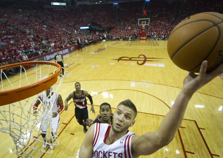 Houston Rockets forward Chandler Parsons drives in fore a layup against the Portland Trail Blazers during the first quarter of an NBA playoff basketball game at Toyota Center Sunday, April 20, 2014, in Houston. ( Brett Coomer / Houston Chronicle ) Photo: Brett Coomer, Houston Chronicle