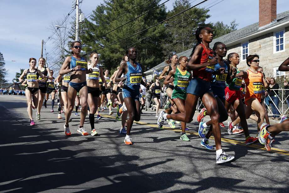 Runners compete near the start in the women's division of the 118th Boston Marathon Monday, April 21, 2014 in Hopkinton, Mass. Photo: Michael Dwyer, Associated Press