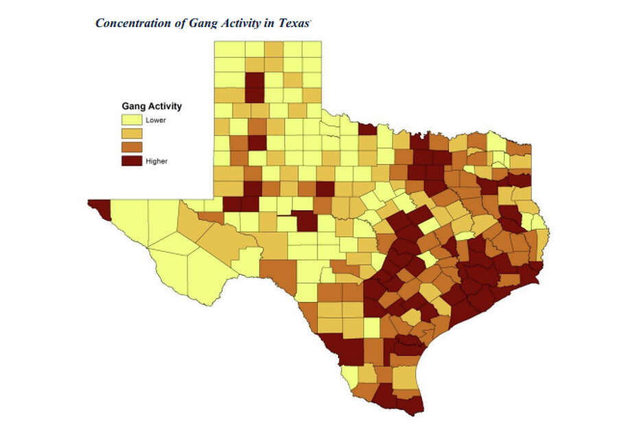 The largest concentration of Texas gang activity is predictably in the urban areas, but pockets of the sparsely-populated West Texas also show high concentrations. Photo: DPS Texas Gang Assessment 2014, DPS