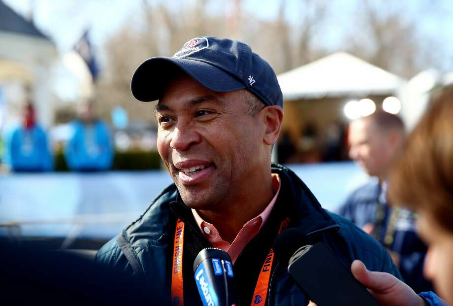 HOPKINTON, MA - APRIL 21:  Governor Deval Patrick speaks to the media after the start of the Mobility Impaired division of the 118th Boston Marathon on April 21, 2014 in Hopkinton, Massachusetts.  (Photo by Alex Trautwig/Getty Images) Photo: Alex Trautwig, Getty Images