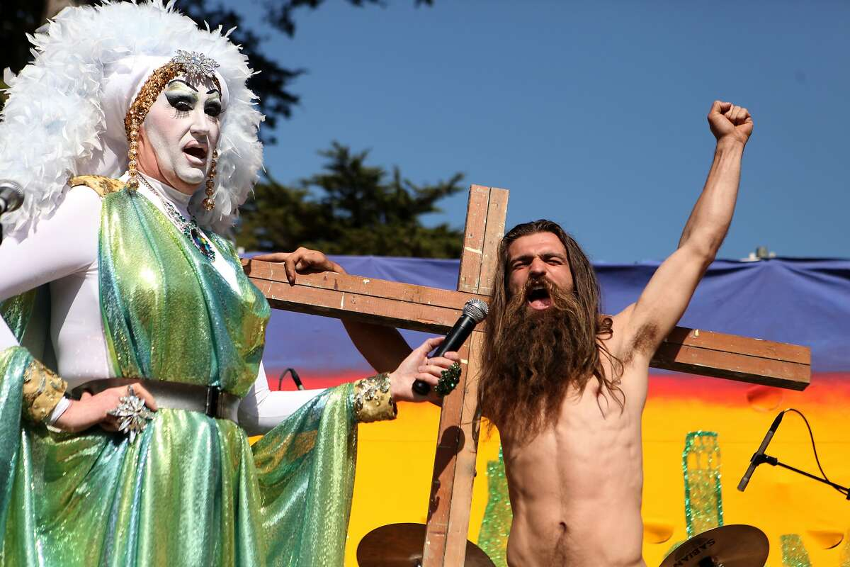 Sister Roma introduces a contender during the Hunky Jesus contest held at the 35th annual Easter Celebration put on by the Sisters of Perpetual Indulgence in Golden Gate Park, San Francisco, Calif. on April 20, 2014.