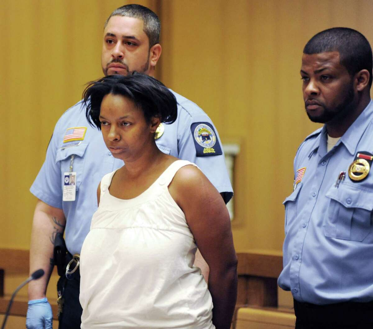 Suspect Yolanda McDowell, 45, of Durant St., Stamford is arraigned on Monday April 21, 2014 at state superior court in Stamford, Conn in last night's hit-and-run that killed a 70-year-old woman.Victim was mother of SPD 2002 Officer of the Year Angel Gonzales.