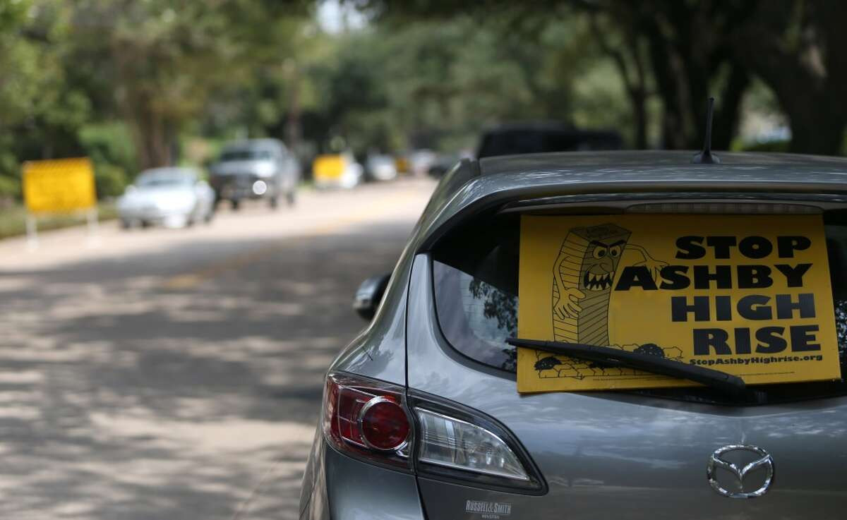 Cars are lined up along Bissonnet between Hazard and Mandel, Tuesday, Aug. 28, 2012, in Houston, to protest the Ashby high-rise in an attempt to show how traffic will be affected by the building. ( Karen Warren / Houston Chronicle )