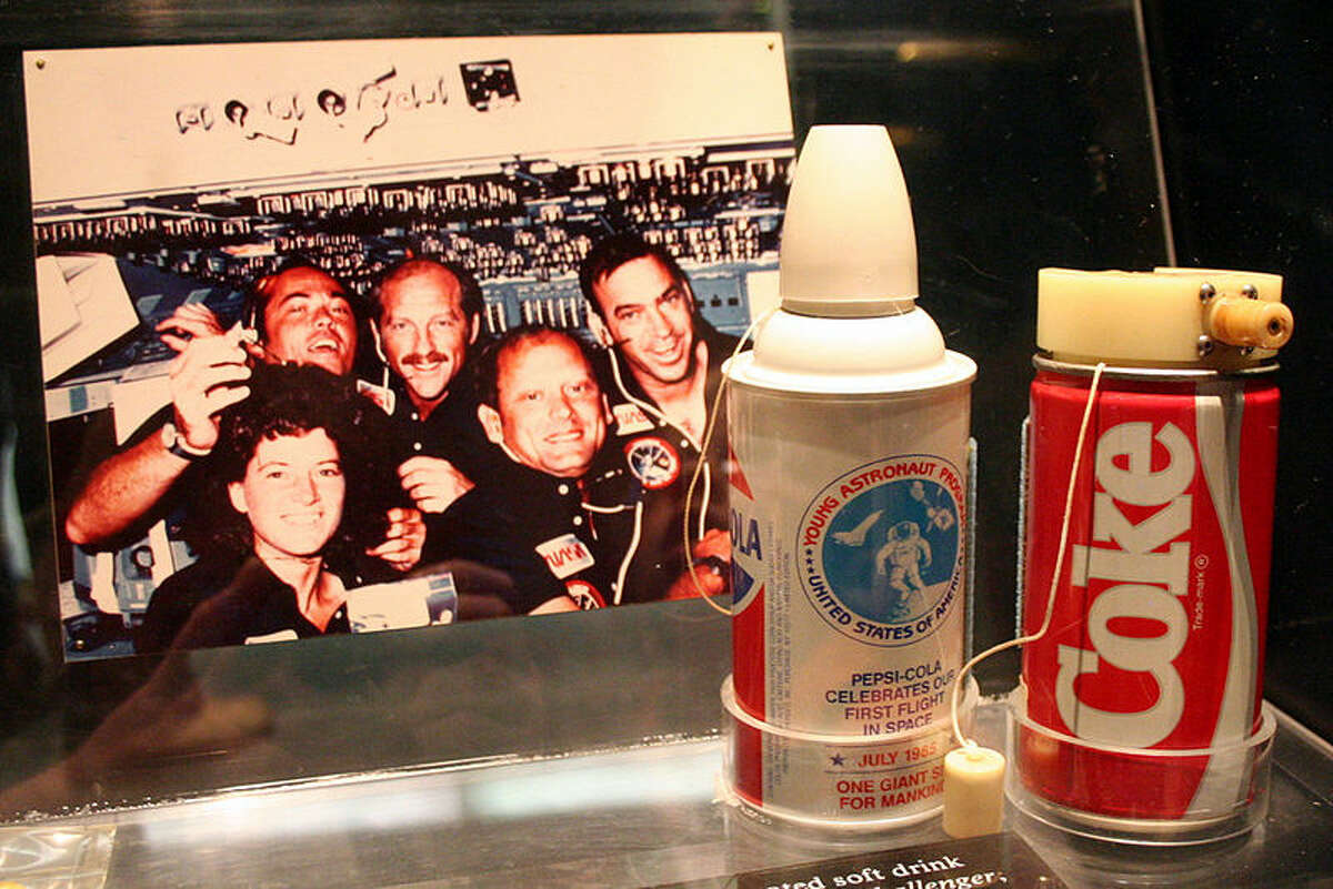 Carbonated beverage cans flown aboard STS-51-F, image taken at the National Air and Space Museum. (Wikimedia commons)