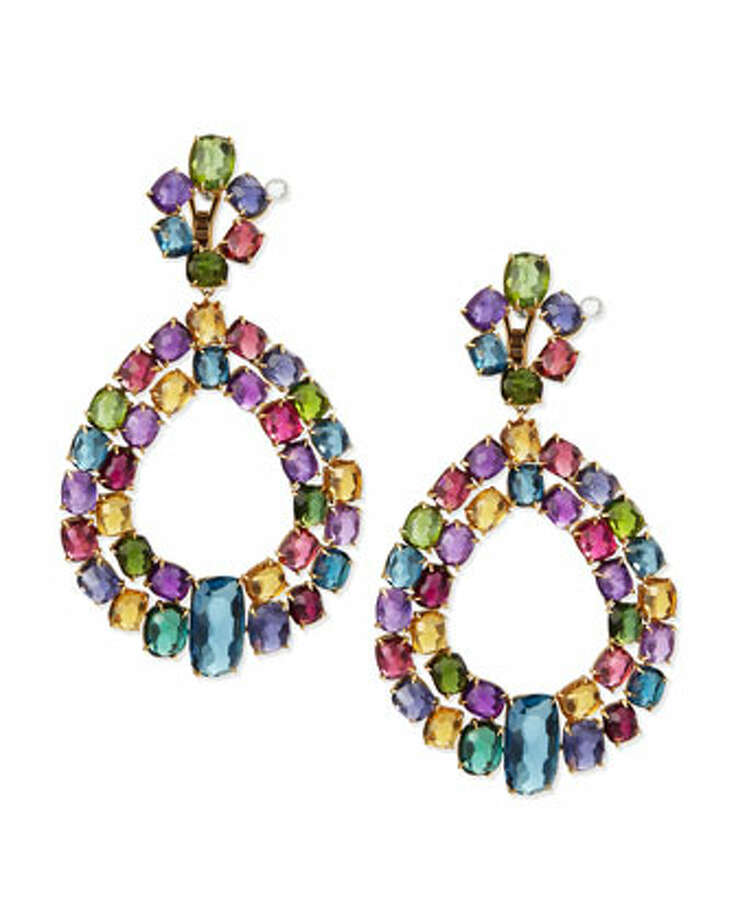 Marco Bicego's Murano 18k multi-stone chandelier earrings contain amethyst, citrine, blue topaz, green tourmaline and pink tourmaline. $16, 420, at Neiman Marcus. Photo: Courtesy NeimanMarcus.com