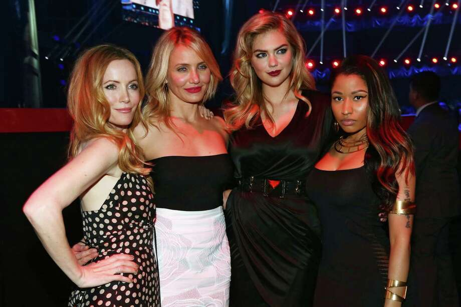 (L-R) Actress Leslie Mann, actress Cameron Diaz, model/actress Kate Upton, and recording artist Nicki Minaj attend the 2014 MTV Movie Awards at Nokia Theatre L.A. Live on April 13, 2014 in Los Angeles, California.  (Photo by Christopher Polk/Getty Images) Photo: Christopher Polk, Multiple / 2014 Getty Images