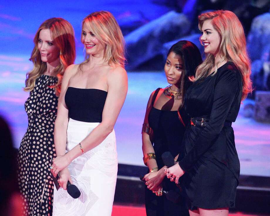 L-R) Actress Leslie Mann, actress Cameron Diaz, recording artist Nicki Minaj, and model/actress Kate Upton speak onstage at the 2014 MTV Movie Awards at Nokia Theatre L.A. Live on April 13, 2014 in Los Angeles, California.  (Photo by Kevork Djansezian/Getty Images for MTV) Photo: Kevork Djansezian, Multiple / 2014 Getty Images