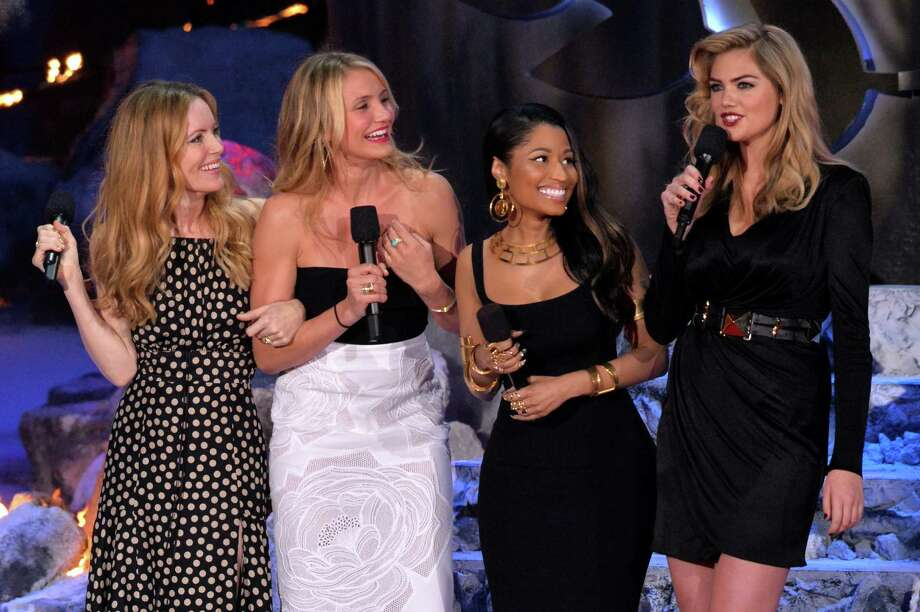:  (L-R) Actress Leslie Mann, actress Cameron Diaz, recording artist/actress Nicki Minaj and model/actress Kate Upton speak onstage at the 2014 MTV Movie Awards at Nokia Theatre L.A. Live on April 13, 2014 in Los Angeles, California.  (Photo by Lester Cohen/WireImage) Photo: Lester Cohen, Multiple / 2014 Lester Cohen