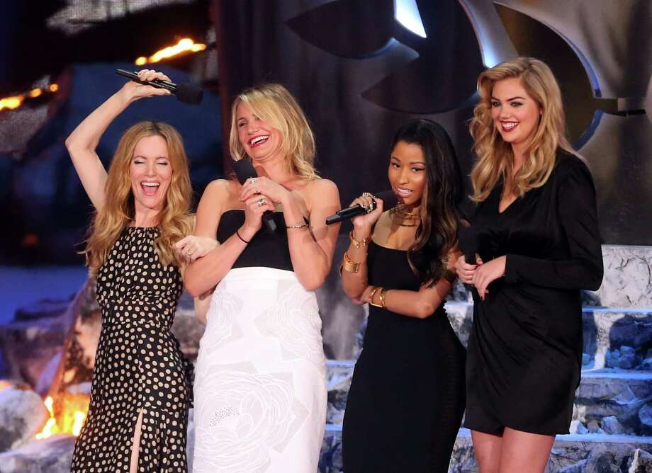 (L-R) Actress Leslie Mann, actress Cameron Diaz, actress-singer Nicki Minaj, and actress-model Kate Upton speak onstage at the 2014 MTV Movie Awards at Nokia Theatre L.A. Live on April 13, 2014 in Los Angeles, California.  (Photo by Frederick M. Brown/Getty Images) Photo: Frederick M. Brown, Multiple / 2014 Getty Images