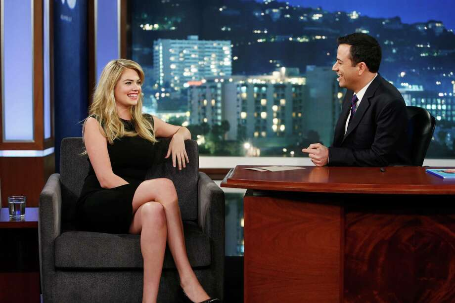 "Emmy Award-nominated ""Jimmy Kimmel Live"" airs every weeknight (11:35 p.m. - 12:41 a.m., ET),  packed with hilarious comedy bits and features a diverse lineup of guests including celebrities, athletes, musicians, comedians and humorous human interest subjects. The guests for WEDNESDAY, APRIL 9 included supermodel/actress Kate Upton (""The Other Woman""),  actor Cole Hauser (""Transcendence"") and musical guest Neon Trees. (Randy Holmes/ABC via Getty Images) Photo: Randy Holmes, Multiple / 2014 American Broadcasting Companies, Inc."