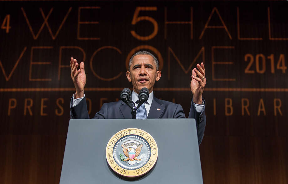 President Barack Obama gives a keynote address during the Civil Rights Summit on Thursday, April 10, 2014, in Austin, Texas. Photo: RICARDO B. BRAZZIELL, Associated Press / Austin American-Statesman