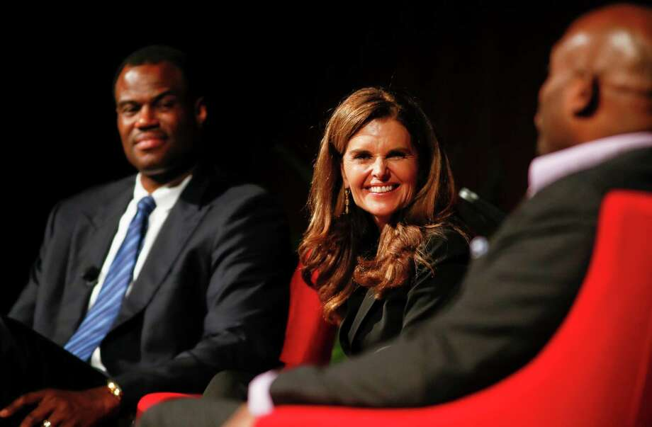 "Basketball hall of famer David Robinson, Maria Schriver, and Translation founder and CEO Steve Stoute, from left, take part in the ""Social Justice in the 21st Century"" panel during the Civil Rights Summit on Thursday, April 10, 2014, in Austin, Texas. Photo: Jack Plunkett, Associated Press / FR59553 AP"