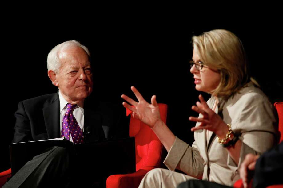 "CBS News reporter Bob Schieffer, left, and former Secretary of Education Margaret Spellings take part in the ""Education : The Ultimate Civil Right"" panel during the Civil Rights Summit on Thursday, April 10, 2014, in Austin, Texas. Photo: Jack Plunkett, Associated Press / FR59553 AP"