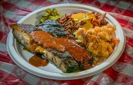 The Ribs, Mac 'n' Cheese and the Pulled Pork at Smoakville in Napa, Calif., is seen on Wednesday, April 9th, 2014.