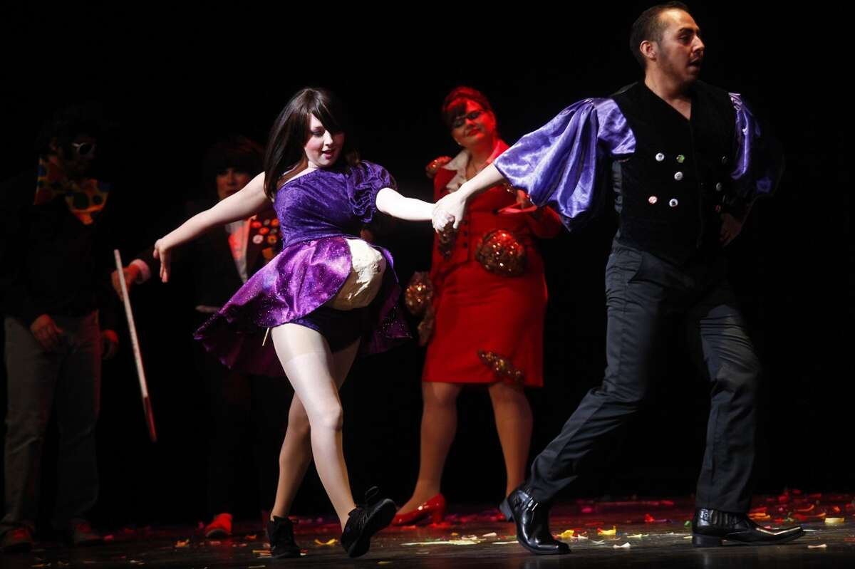 Brittany Tilton, Aaron Salas and Leora Uribe perform in Cornyation in 2011 at the Charline McCombs Empire Theatre.