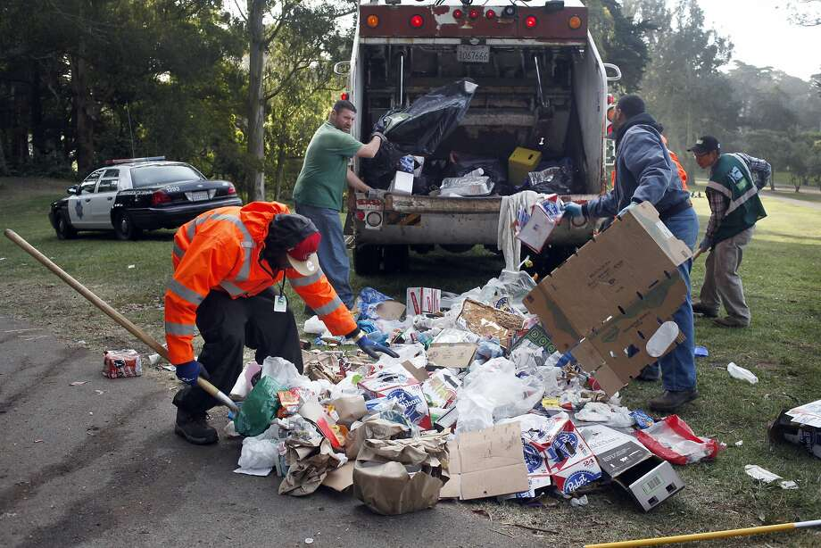 Even though city officials say they were ahead of last year's cleanup efforts, workers still faced heaps of trash at Golden Gate Park. Photo: Lacy Atkins, SFC