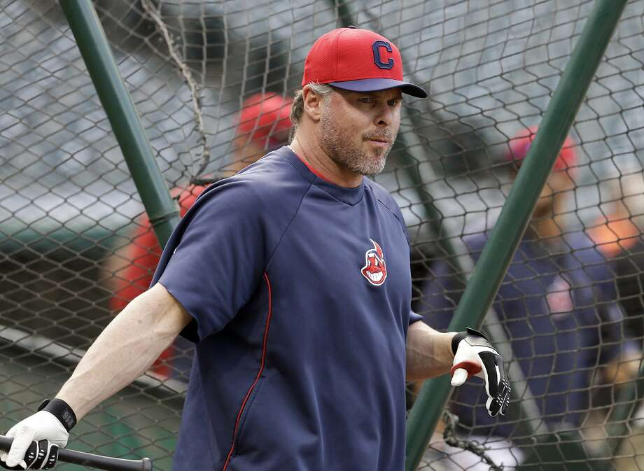 Cleveland Indians' Jason Giambi takes batting practice before a baseball game against the Kansas City Royals Monday, April 21, 2014, in Cleveland. Giambi was activated from the disabled list earlier in the day. (AP Photo/Mark Duncan) Photo: Mark Duncan, Associated Press
