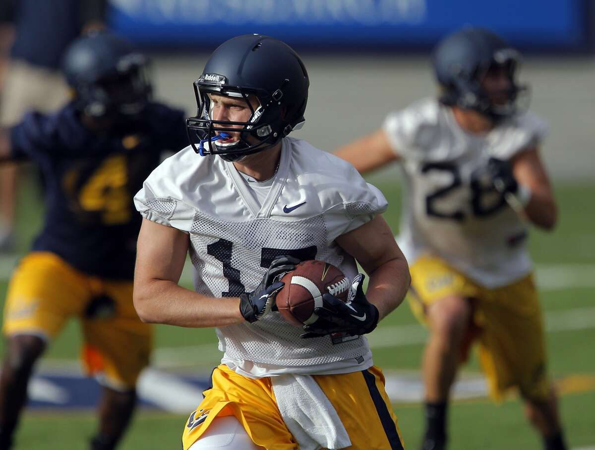 Cal's Kyle Boehm runs after a catch during practice for the Cal football team at Memorial Stadium in Berkeley, Calif., on Tuesday, August 6, 2013.