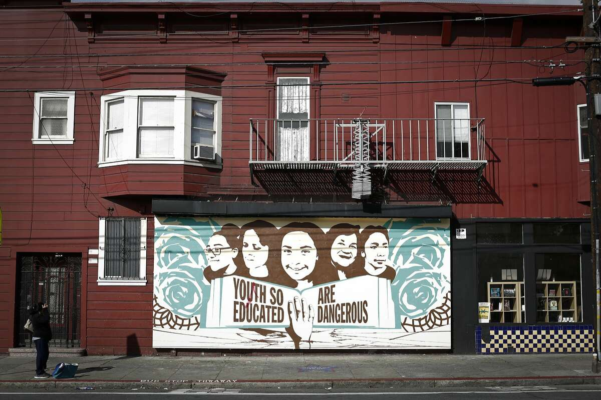 A mural by Jessica Sabogal sits outside the Mission District's Galería de la Raza, which also regularly displays digital murals.