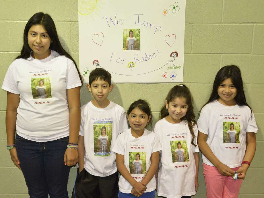 "Collier Elementary students and the family of young heart patient Raelee Delgado had a ""Jump Rope for Heart"" event April 14, raising $470 for the American Heart Association. Shown left to right are Raynewater Delgado, Timothy Villegas, Raelee Delgado, Valerie Villegas and Renee Delgado. Photo: Courtesy / Harlandale ISD / Harlandale ISD    San Antonio, TX   www.harlandale.net"