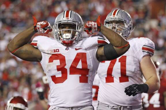 Carlos Hyde, 6-0, 230, 4.66, Ohio State     Hyde captures the uncertainty of the 2014 draft class at running back. The 2013 Big Ten back of the year missed the first three games of Ohio State's season due to an assault investigation. A disappointing NFL scouting combine didn't help Hyde's case. But he's still the best talent in a weak backfield class.