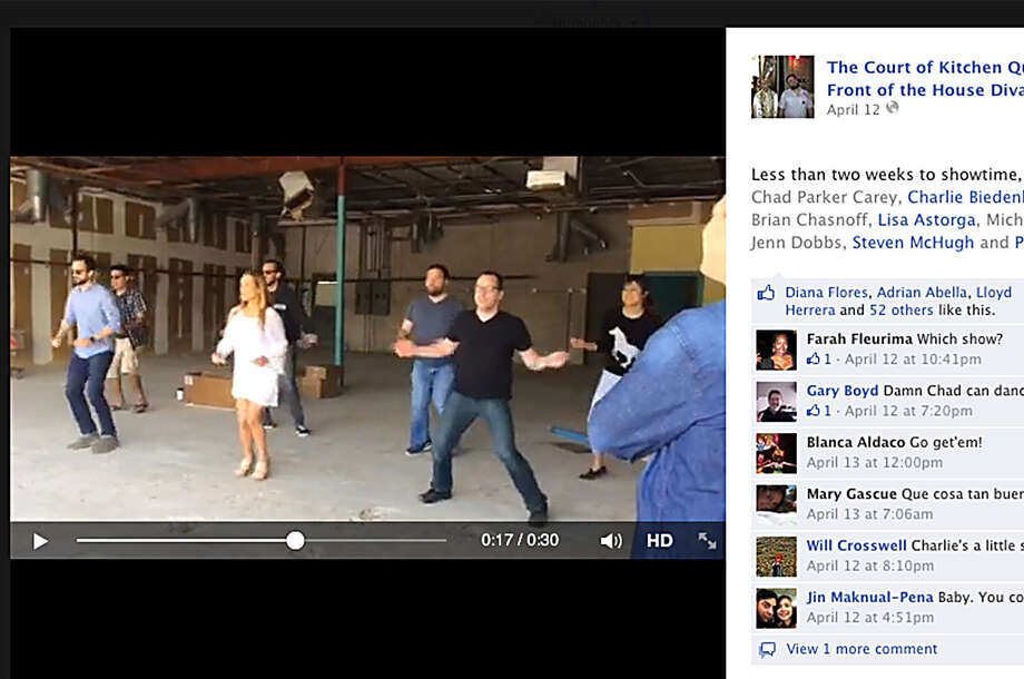 In a Facebook screen grab, Brian Chasnoff and others (the Court of Kitchen Queens and Front of the House Divas) practice a skit for Cornyation. Photo: Courtesy
